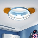 Bear Head Flush Mount Lamp Cartoon Metal Pink/Blue and Wood LED Ceiling Fixture in Warm/White Light, 16
