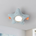 Resin Starfish Mini Flush Mount Kids Blue LED Ceiling Light Fixture for Children Bedroom in Warm/White Light