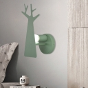 Iron Tree Panel Sconce Light Fixture Macaron 1 Light Grey/White/Green Finish LED Wall Lamp for Foyer