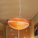 1-Light Boy Room Drop Pendant Kids Nickel Suspension Lamp with Rugby Brown Glass Shade