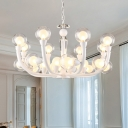 Bubble Dining Hall Up Chandelier Modernism 15/24-Bulb Clear Glass Hanging Pendant Light in White