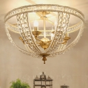 Candelabra Living Room Semi Flush Traditional Crystal 3/4 Bulbs Gold Flush Mount with Bowl Cage, 14