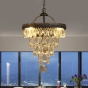 Tapering Crystal Drip Chandelier Traditional 3 Bulbs Bedroom Hanging Light Fixture with Black Trim