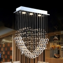 Faceted Crystal Ball LED Flush Chandelier Modernism Chrome Loving Heart Parlor Ceiling Mount Light