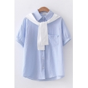 Popular Womens Stripe Printed Short Sleeve Point Collar Tied Front Panel Chest Pocket Relaxed Shirt in Blue