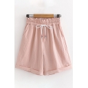 Casual Linen and Cotton Drawstring Waist Solid Color Rolled Edges Relaxed Fit Wide-Leg Shorts for Girls