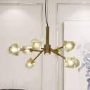 8 Bulbs Sputnik Chandelier Lighting Modern Brass Crystal Block Suspension Pendant Light