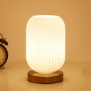 1 Head Bedroom Table Light Minimalism Brass Night Lamp with Cylinder White Ribbed Glass Shade