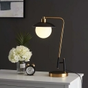 Sphere Night Table Light Post Modern Opal Glass 1 Light Black and Gold Desk Lamp with Dome Shade