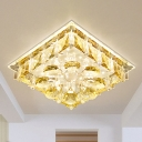 Amber Crystal Square Ceiling Light Simple LED Porch Flushmount Lighting in Warm/White/Multi Color Light