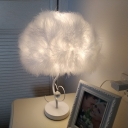 Feather Table Lighting Modernist Fabric 1-Head Bedside Nightstand Lamp in White with Crystal Ball Deco