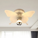 Butterfly Acrylic Semi Flush Light Fixture Nordic 1 Head White Ceiling Mounted Lamp in White/Warm Light