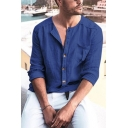 Leisure Solid Color Long Sleeves V-Neck Button Down Linen Relaxed Fit Shirt for Men