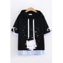 Cute Girls Short Sleeve Drawstring Bow Tie Cat Stripe Pattern Panel Relaxed Fit Hooded Tee Top