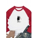 Fancy Womens Raglan Long Sleeve Crew Neck Letter WHAT Cat Graphic Colorblock Oversize T Shirt