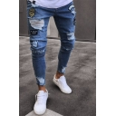 Hip Hop Boys Mid Rise Cartoon Badge Patched Ripped Ankle Fitted Jeans