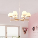 Frosted White Glass Jar Shape Pendant Light Modernist 6 Lights Wood Radial Chandelier Lamp