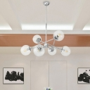 Modern 6 Heads Ceiling Chandelier Chrome Ball Suspension Lamp with Clear Glass Shade