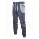 Leisure Mens Drawstring Waist Zipper Sides Colorblock Cuffed Ankle Slim Fit Sweatpants