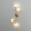Gold Finish Pencil Arm Sconce Lighting Post-Modern 4 Heads Metallic Wall Lamp with Clear and White Glass Shade