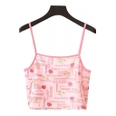 Pretty Sexy Girls Sleeveless Letter PIA SWEET Strawberry All Over Graphic Fitted Crop Cami Top in Pink