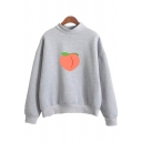Fashionable Womens Long Sleeve Mock Neck Peach Pattern Sherpa Loose Fit Pullover Sweatshirt