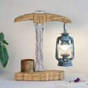 Grey Kerosene Desk Lamp Factory Style Clear Glass 1 Head Bedroom Table Lighting with Wood Tool Design
