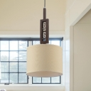 Drum Ceiling Light Minimalist Fabric 1-Light White Suspension Lamp with Brown Carved Wood Rod