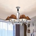 Modernism 6-Head Pendant Chandelier Chrome Sputnik Hanging Ceiling Light with Brown Fabric Shade