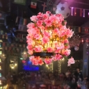 3 Heads Birdcage Pendant Chandelier Retro Pink Iron Ceiling Suspension Lamp with Floral Decor