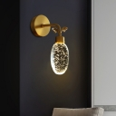 LED Wall Mount Lighting Modernist Oval Bubble Crystal Wall Lamp Sconce in Gold for Bedside