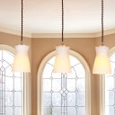 Opal Glass Milk Can Hanging Lighting Modernist 3 Lights Wood Multi Light Pendant over Dining Table