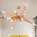 Modernist Sputnik Pendant Chandelier Wood 12 Lights Living Room LED Ceiling Hang Fixture