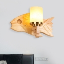 Cylinder Cracked Glass Sconce Lighting Modernist 1 Bulb Gold Wall Mounted Lamp with Fish Wood Backplate