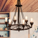 Wheel Metal Hanging Chandelier Vintage 6 Heads Restaurant Suspension Pendant in Rust with Bicycle Chain Deco