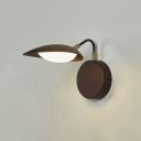 Rotatable Oval Wall Light Fixture Contemporary Metallic Coffee LED Wall Lamp Sconce with Adjustable Arm for Living Room in Warm/Natural Light