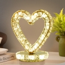 LED Metallic Table Light Modernist Chrome Loving Heart/Round Bedside Nightstand Lamp with Crystal Block Detail
