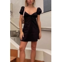 Cute Bubble Sleeve Sweetheart Neck Bow Decorated Little Black A-Line Short Dress