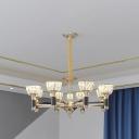Crystal Block Bowl Pendant Chandelier Modernist 6/8-Head Dining Room LED Suspension Lamp in Black and Gold