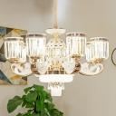 Crystal Block Bell Chandelier Light Modernist 6/8 Bulbs Living Room Hanging Ceiling Lamp in Gold