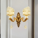 1/2-Bulb Arc Wall Light Sconce Modern Gold Finish Crystal Rectangle Wall Mounted Lamp