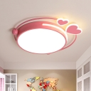 Drum Ceiling Flush Minimalist Acrylic Pink LED Flush Mount Lighting Fixture with Loving Heart Design in Warm/White Light
