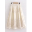 Pretty Ladies Beige Elastic Waist Floral Embroidered Lace Trim Long Pleated A-Line Skirt