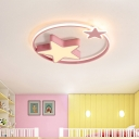 Modern LED Ceiling Light Fixture White/Pink Star Design Flushmount Lighting with Acrylic Shade for Children Bedroom