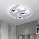 Acrylic Moon and Star Ceiling Lamp Contemporary LED White Flush Mount Lighting Fixture in Warm/White Light