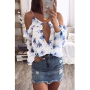 Fancy Ladies White Blouson Sleeve Cold Shoulder All Over Floral Printed Cut Out Relaxed Chiffon Blouse