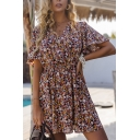 Summer Fancy Ladies Bell Sleeve Surplice Neck Ditsy Floral Printed Gathered Waist Short Pleated A-Line Dress in Pink