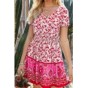 Pretty Girls Short Sleeve Round Neck Button Up Gathered Waist All Over Floral Printed Short Pleated A-Line Dress