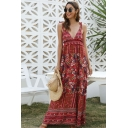 Pretty Girls Red Sleeveless Bow Tie Shoulder All Over Floral Linen and Cotton Maxi Flowy Cami Ethnic Dress