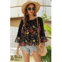 Popular Stylish Ladies Black Bell Sleeves Boat Neck Ruffled Trim Flower Pattern Chiffon Lace Patched Relaxed Blouse Top